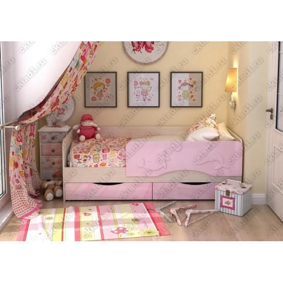 Детская кровать  Дельфин-2 1,8 розовый