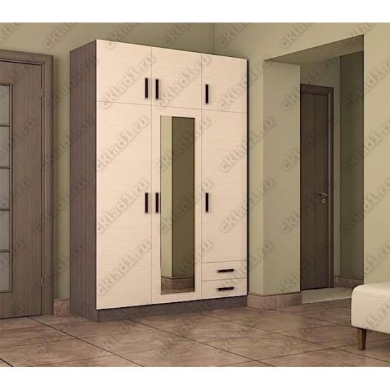 Шкаф 3 створчатый с антресолью венге-дуб белёный