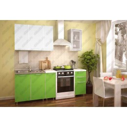 Кухня 1,5м МДФ без фотопечати (бел.-зел.)