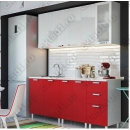 Кухня 2,0м МДФ без фотопечати (бел.-красн.)